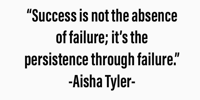 """Success is not the absence of failure; its the persistence through failure."""